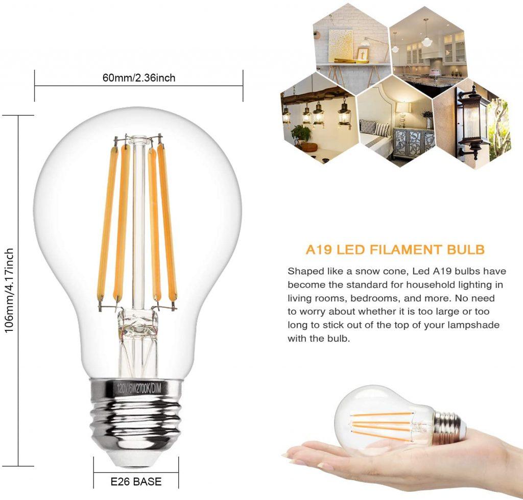 Boncoo Vintage LED Edison Bulb Major Qualities