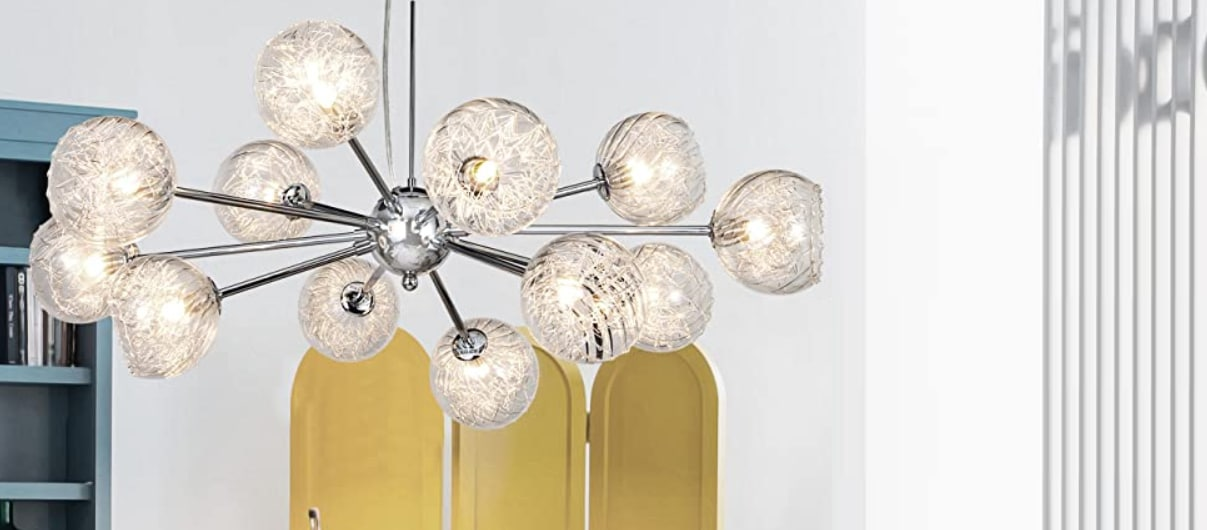 MEEROSEE Sputnik Chandeliers Modern Pendant Lighting Wired Chrome Aluminum Large Chandelier