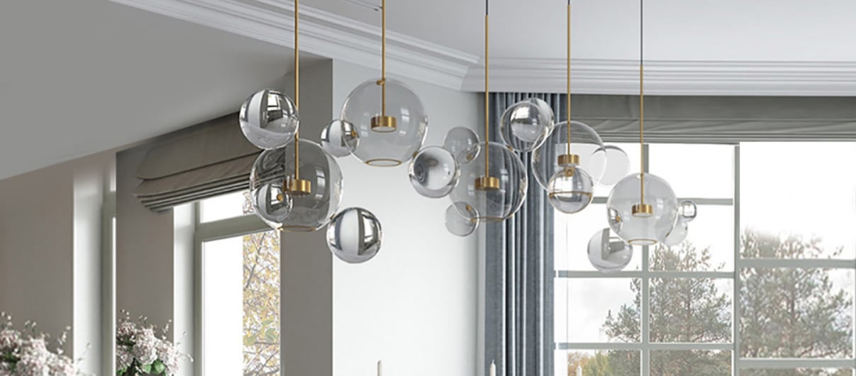 EDISLIVE Soap Bubble Chandeliers with 3 Glass Pendant Light