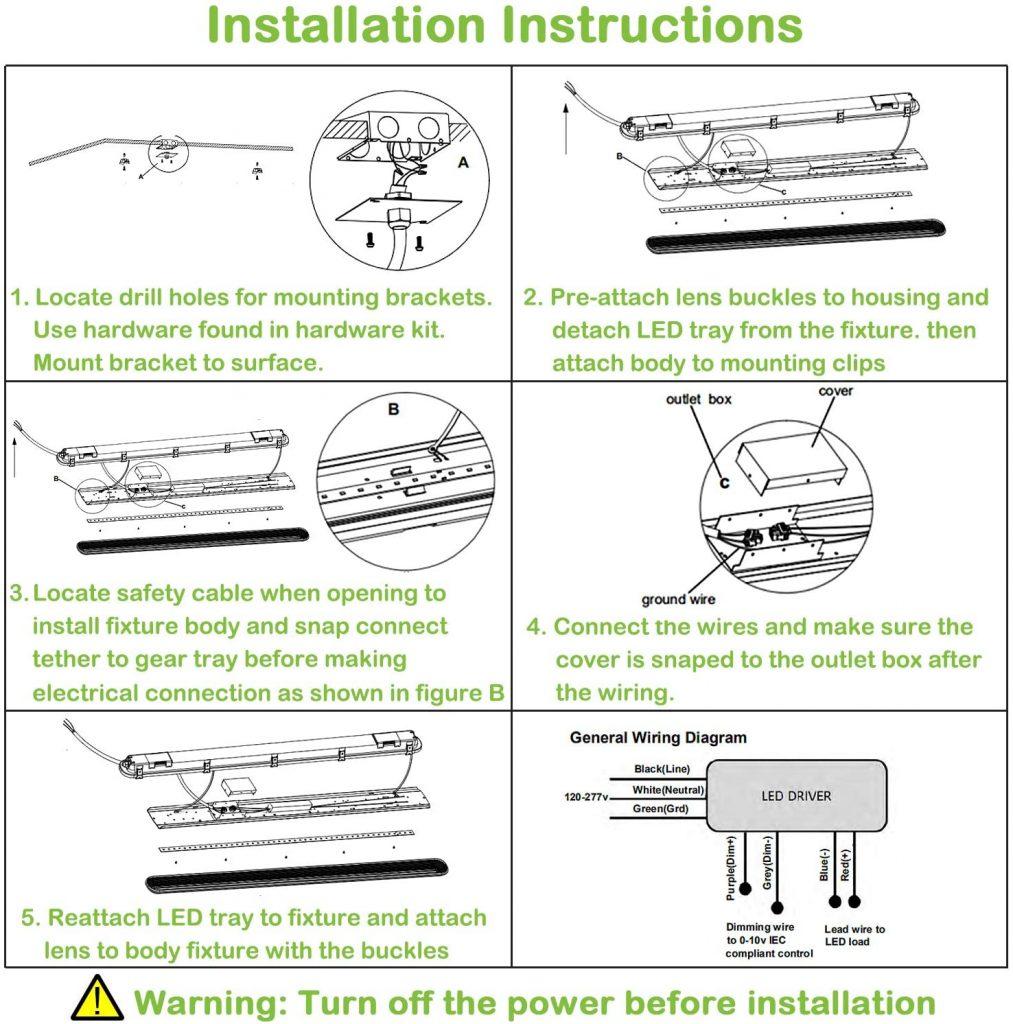 8-Foot Vapor-Tight LED Light Fixture Installation Instructions